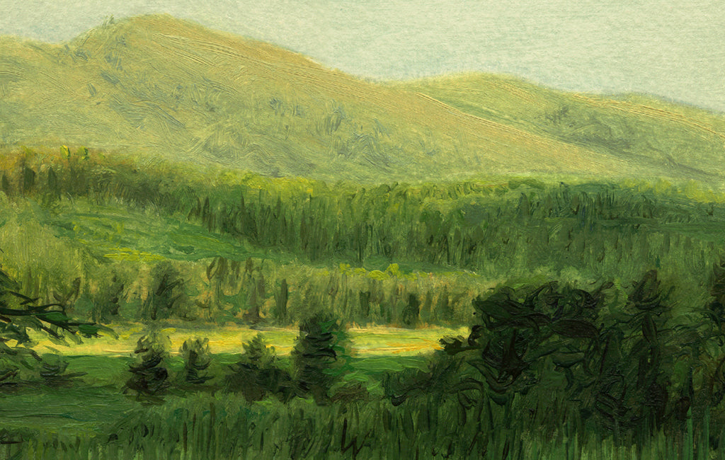 Idaho Evening Landscape Green Painting Giclée Print Crop 1