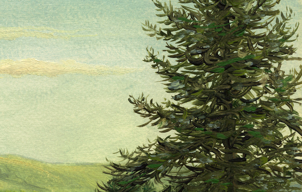 Idaho Evening Landscape Green Painting Giclée Print Crop 2