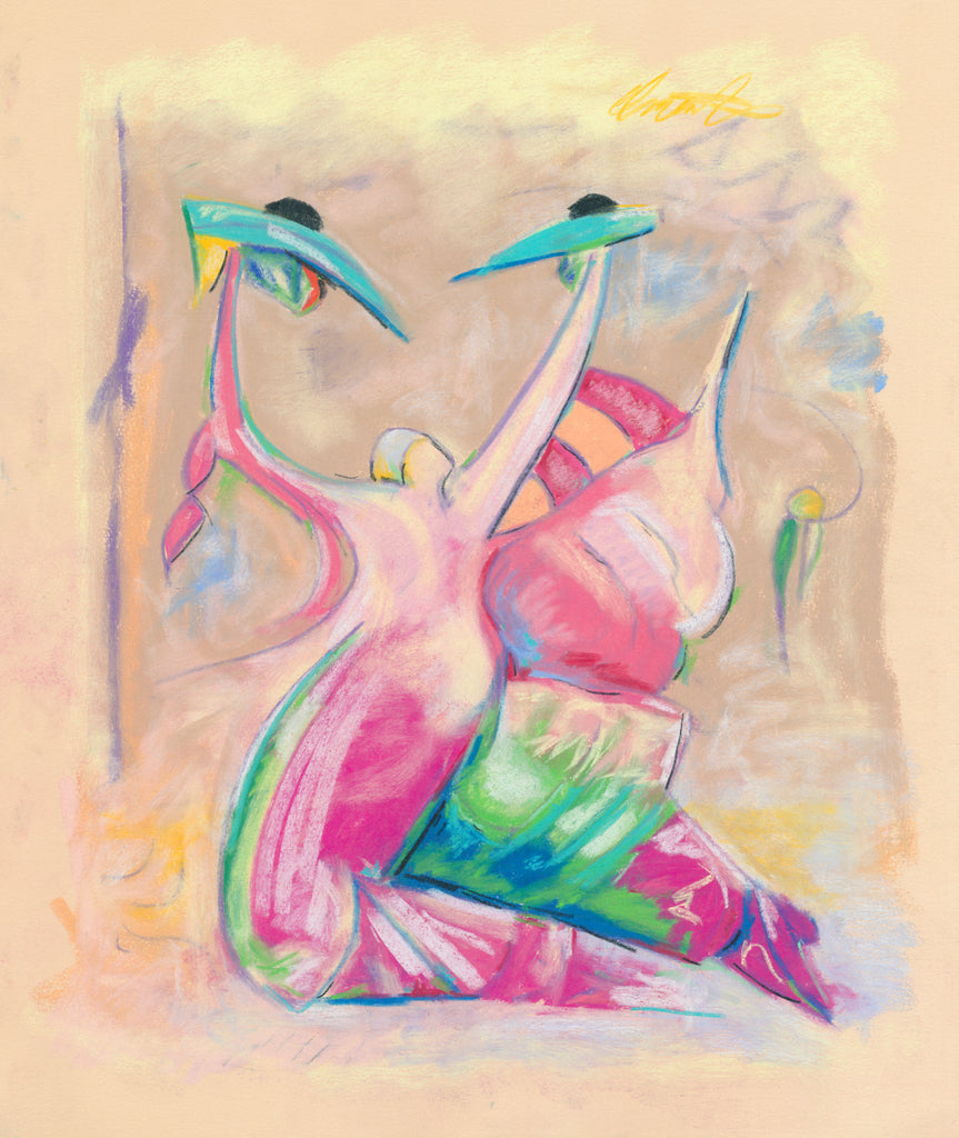 Colorful Abstract Figures Painting Giclée Print