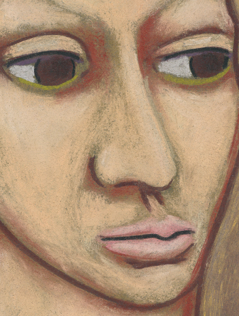 Primitive Woman Pastel Portrait Giclée Print Crop 1