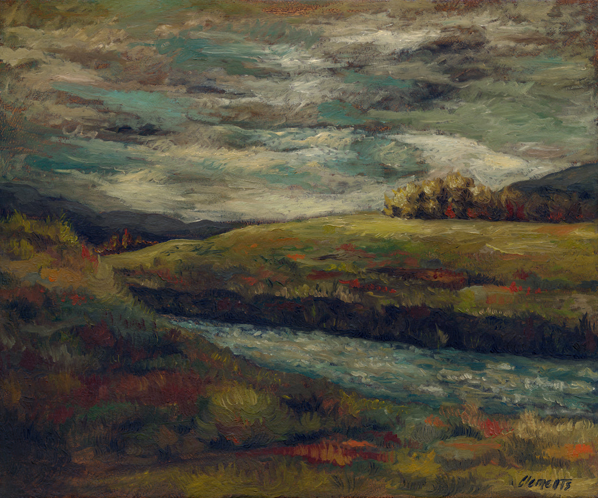 Dark Brooding Stormy River Landscape Painting Giclée Print