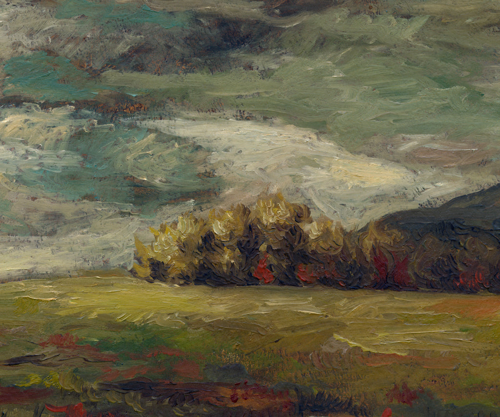 Dark Brooding Stormy River Landscape Painting Giclée Print Crop 1