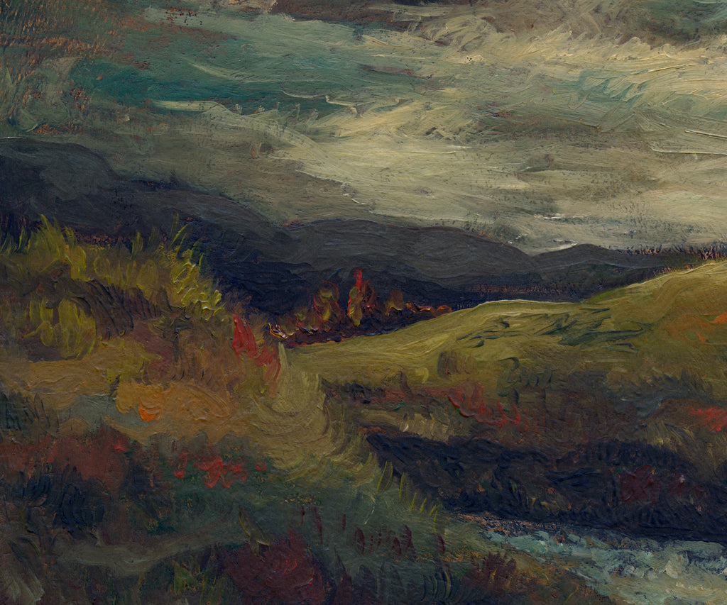Dark Brooding Stormy River Landscape Painting Giclée Print Crop 2