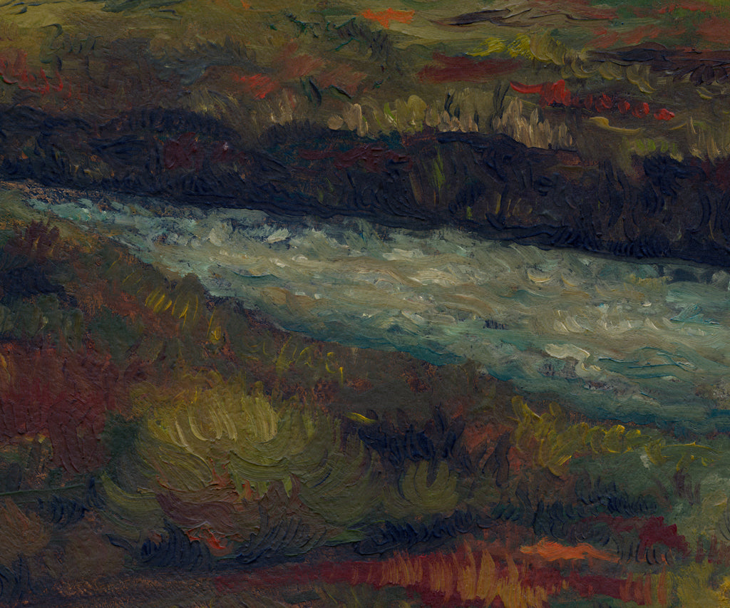 Dark Brooding Stormy River Landscape Painting Giclée Print Crop 3