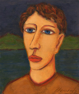 Imaginary Night Portrait of Man on River Painting Giclée Print