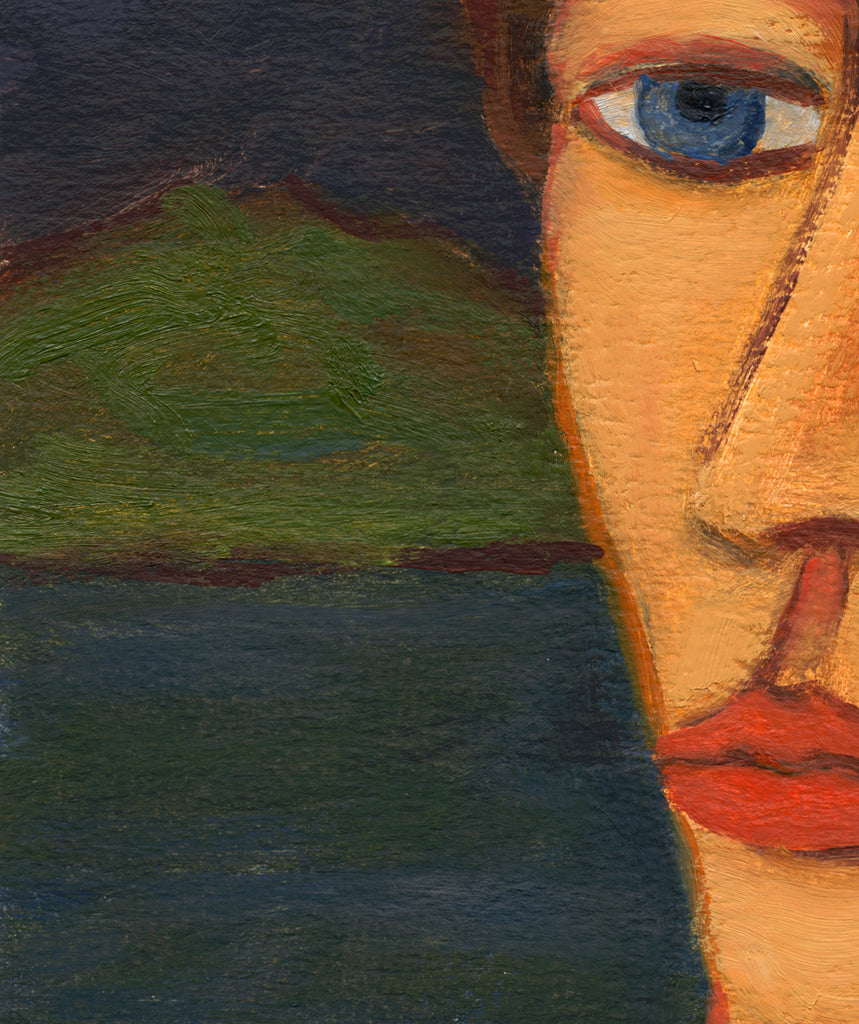 Imaginary Night Portrait of Man on River Painting Giclée Print Crop 2
