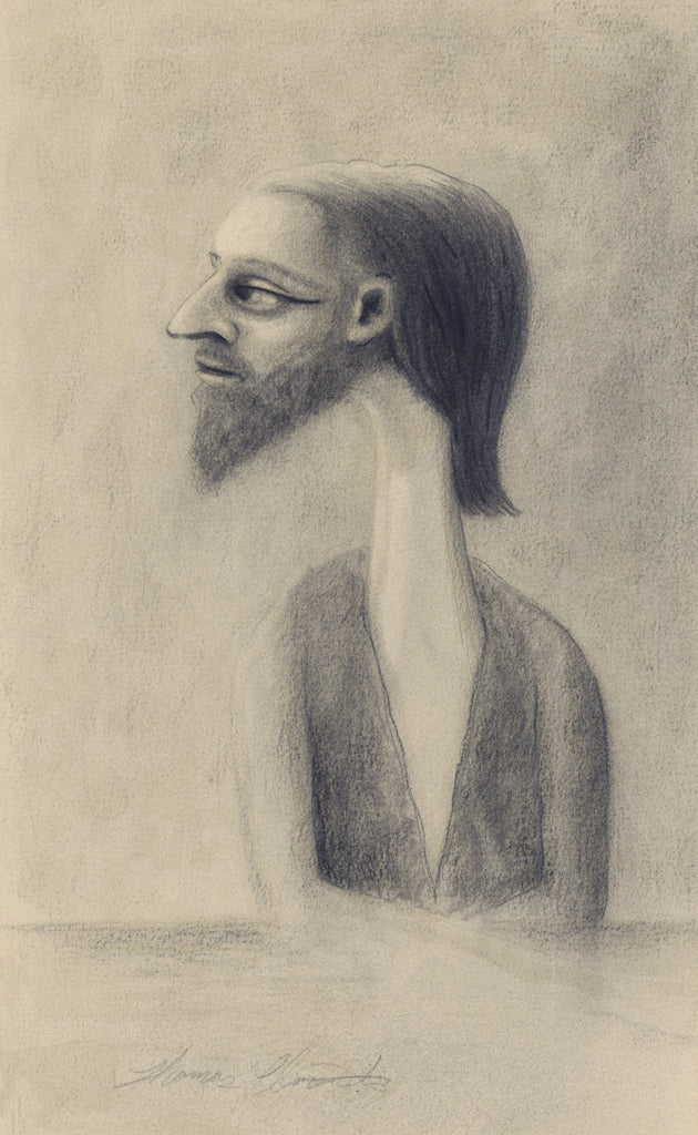 Surreal Portrait Pencil Drawing of Man Giclée Print