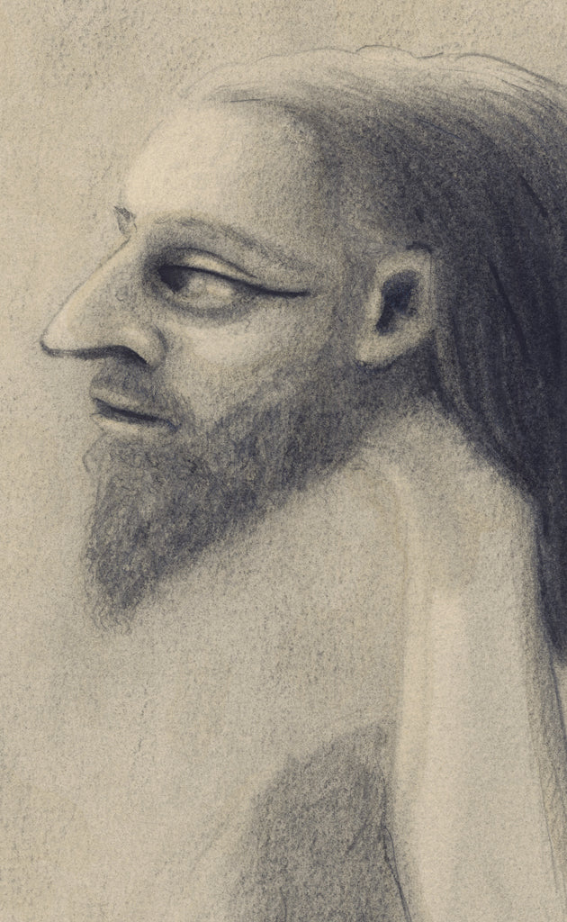 Surreal Portrait Pencil Drawing of Man Giclée Print Crop 1