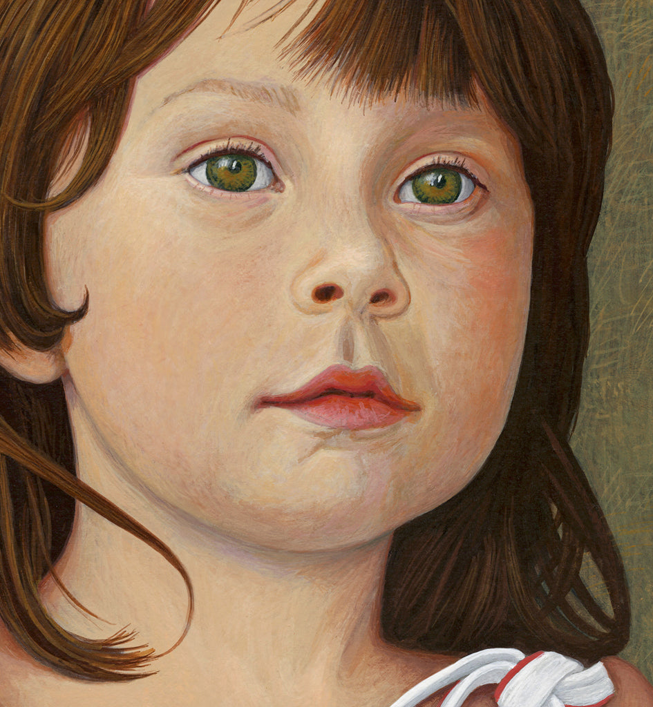 Portrait of Young Girl Painting Giclée Print Crop 1