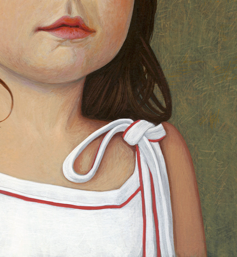 Portrait of Young Girl Painting Giclée Print Crop 2