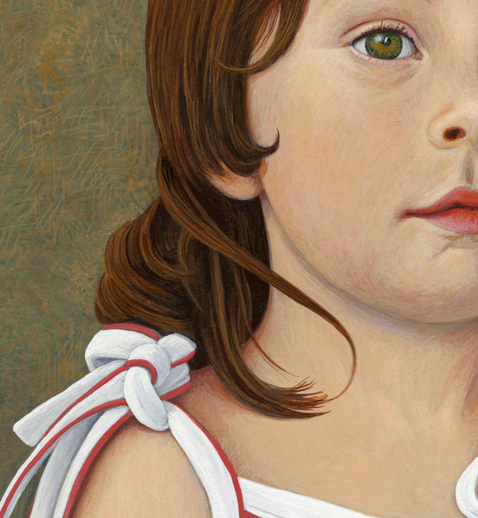 Portrait of Young Girl Painting Giclée Print Crop 3