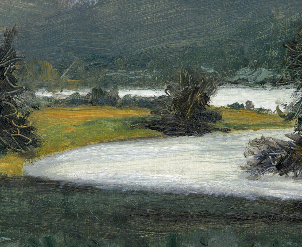 Apple Trees Along the Pend Oreille River Painting Giclée Print Crop 1