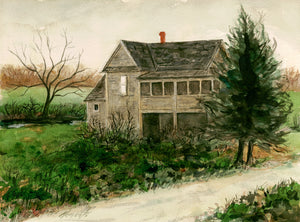 Imaginary Rural House Along Road Painting Giclée Print