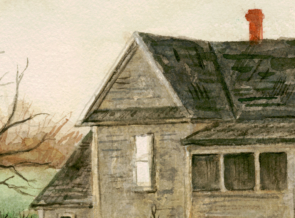 Imaginary Rural House Along Road Painting Giclée Print Crop 1