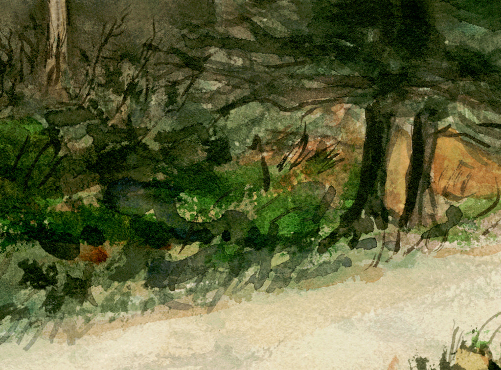 Imaginary Rural House Along Road Painting Giclée Print Crop 2