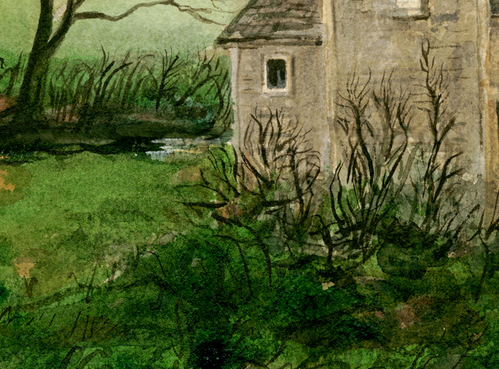 Imaginary Rural House Along Road Painting Giclée Print Crop 3