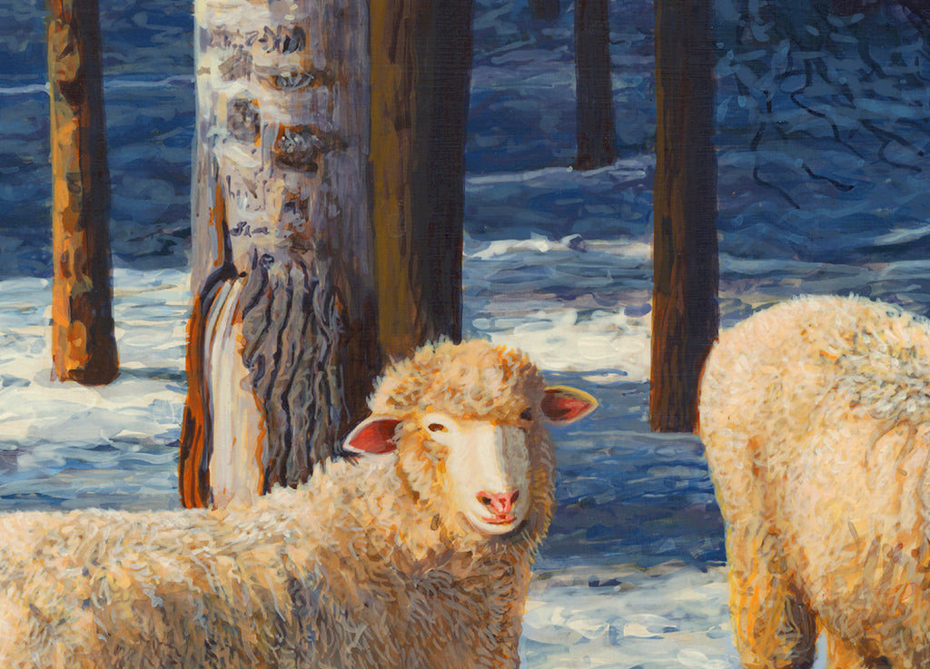 Two Columbia Ewes and Lambs on Sunny Snowy Day Painting Giclée Print Crop 1