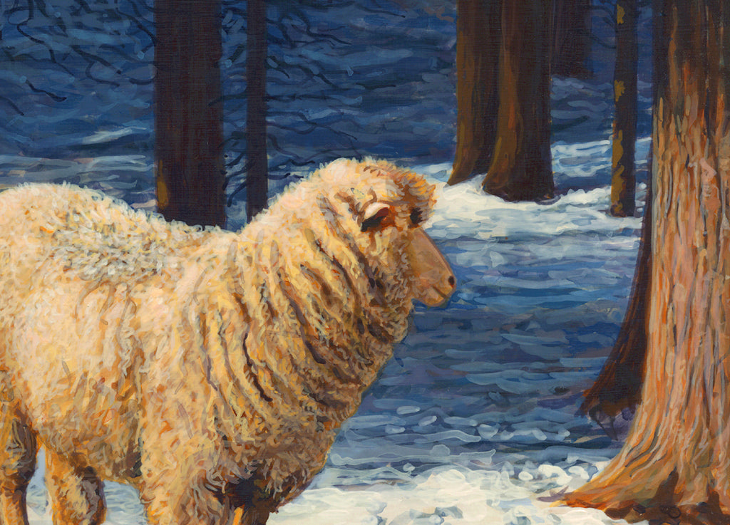 Two Columbia Ewes and Lambs on Sunny Snowy Day Painting Giclée Print Crop 2