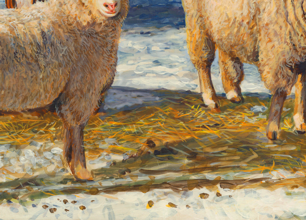 Two Columbia Ewes and Lambs on Sunny Snowy Day Painting Giclée Print Crop 3