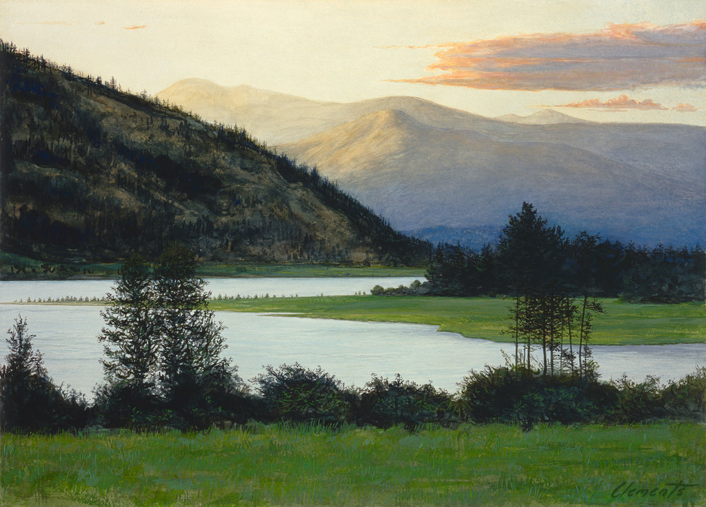 Idaho Pend Oreille River Evening Landscape Painting Giclée Print