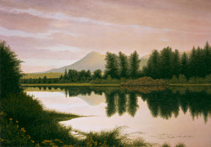 North Idaho Summer Sunset Pond Painting Giclée Print