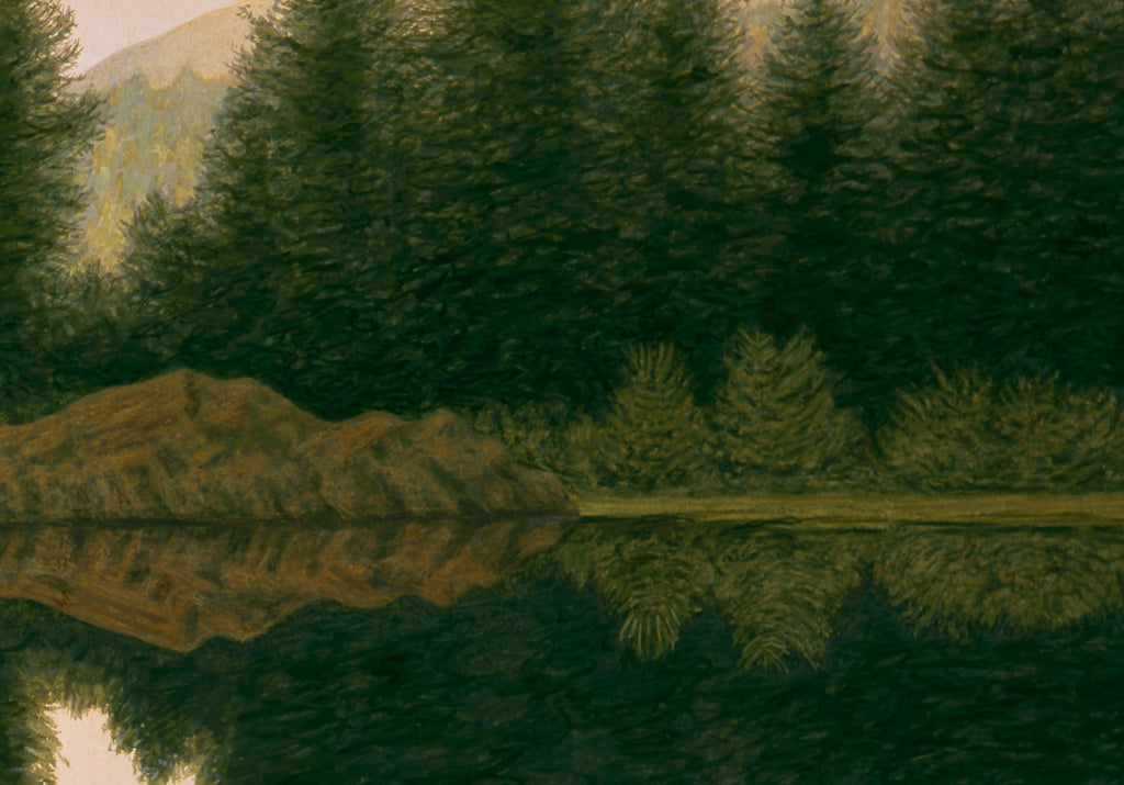 North Idaho Summer Sunset Pond Painting Giclée Print Crop 2