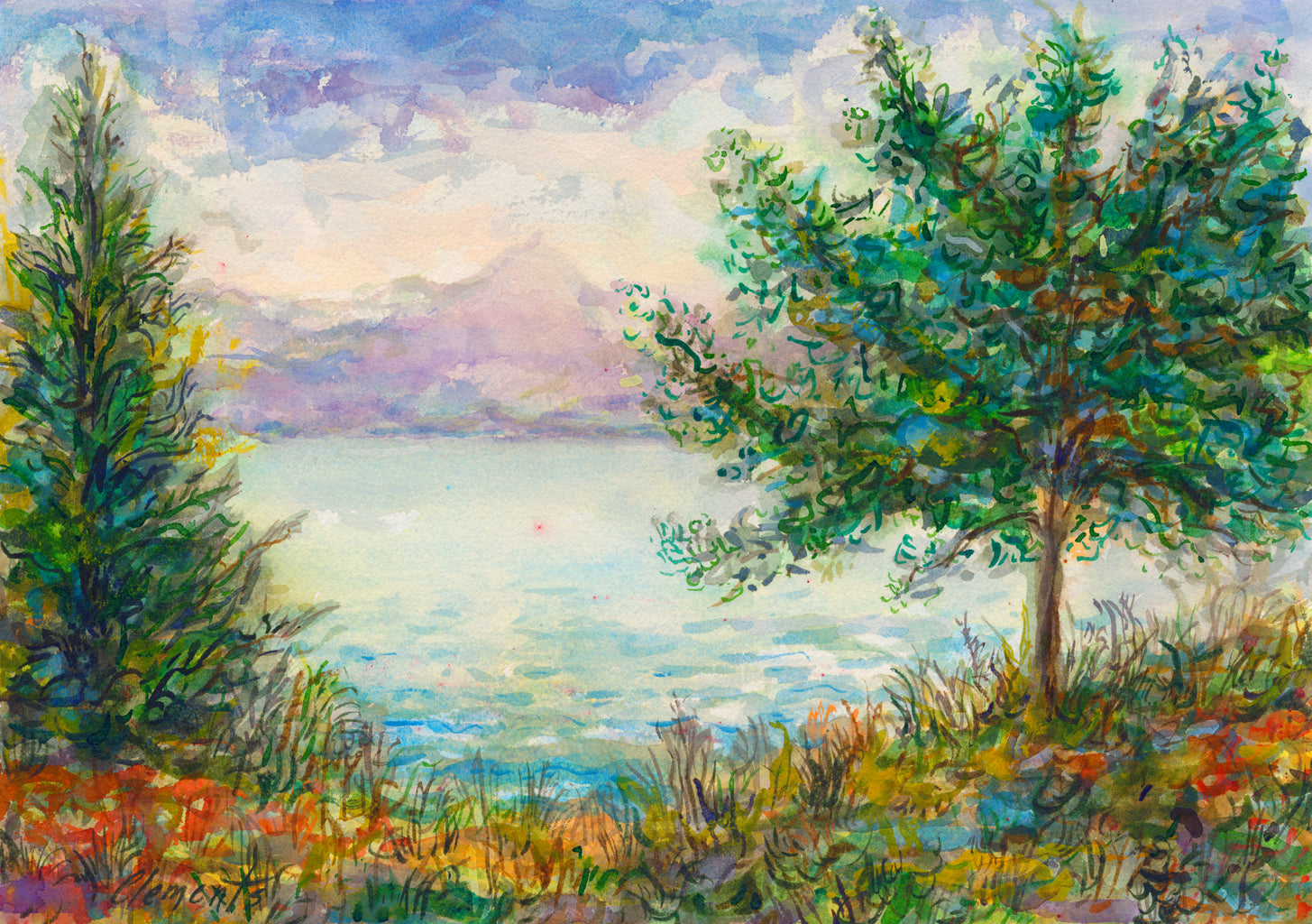 Colorful Whimsical Mountain Lake Painting Giclée Print