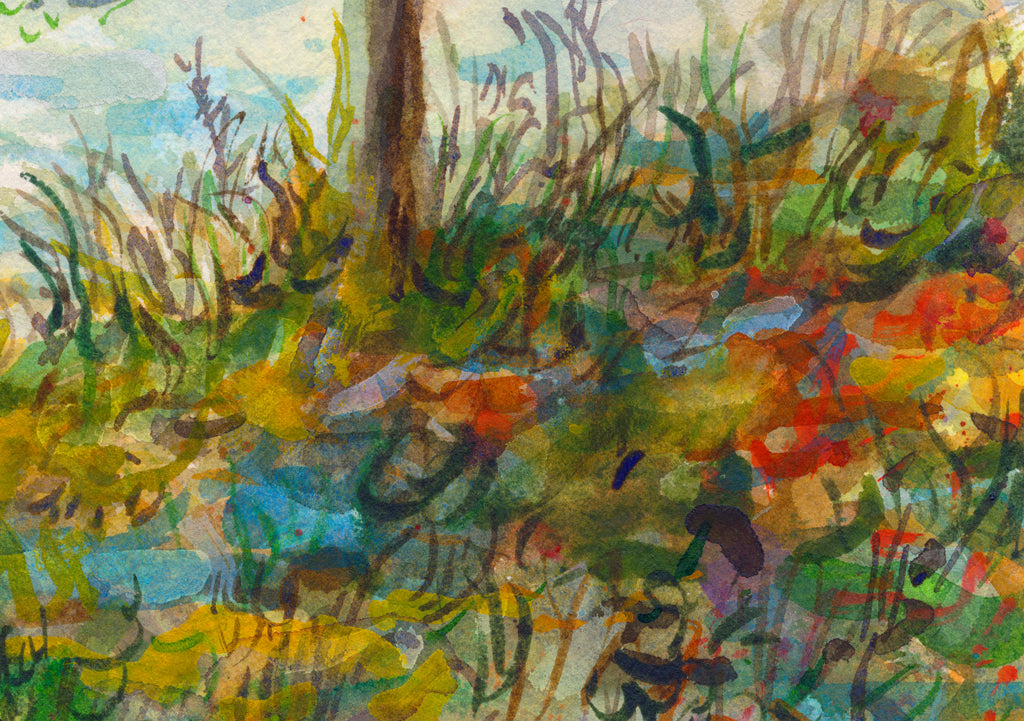 Colorful Whimsical Mountain Lake Painting Giclée Print Crop 2