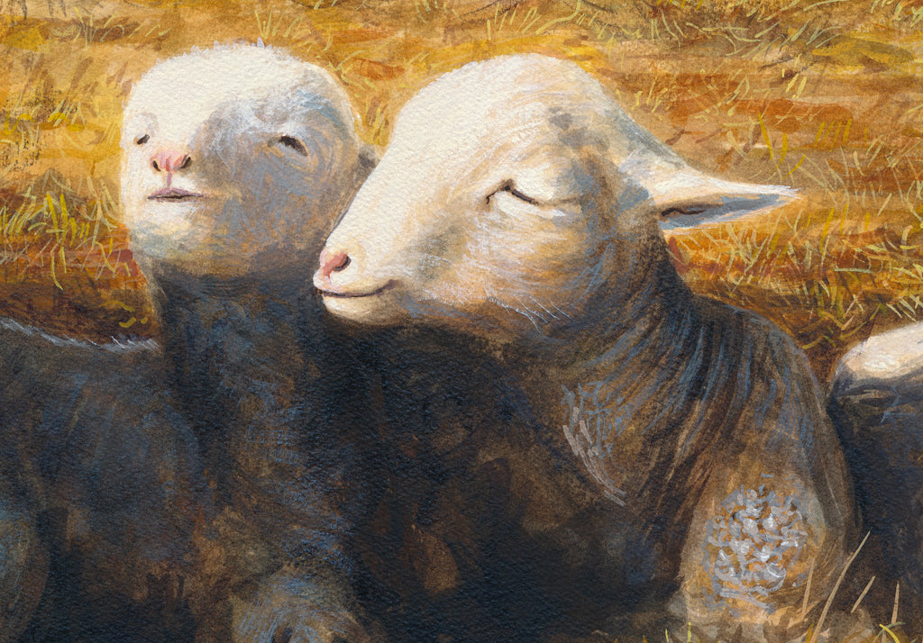 Ewe Sheep and Three Triplet Lambs Resting Painting Giclée Print Crop 1