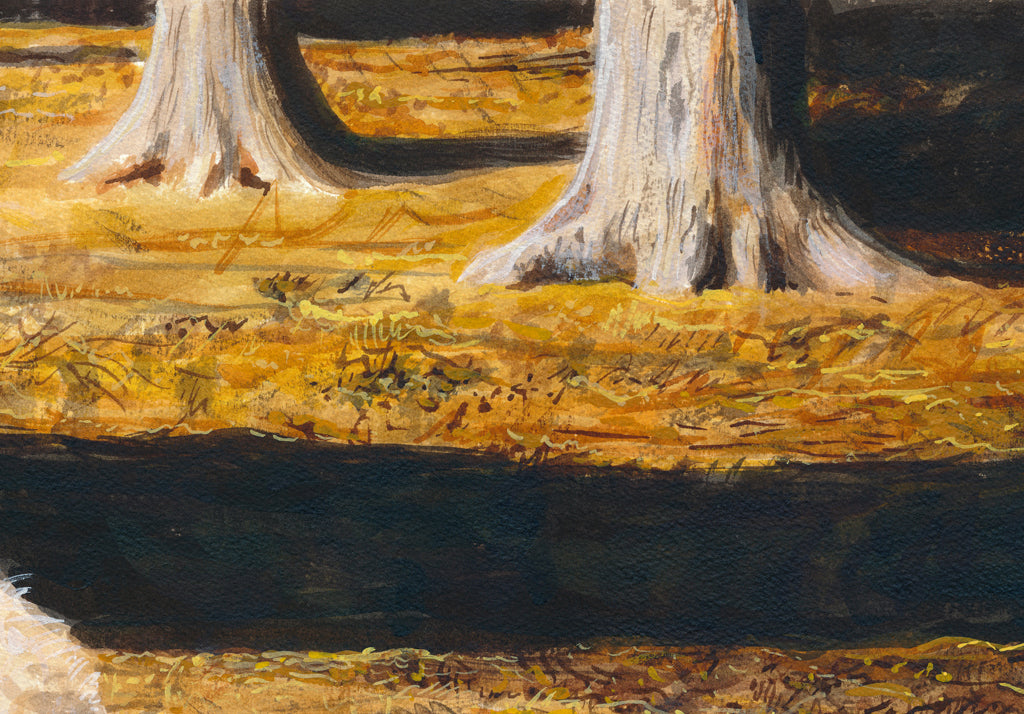 Ewe Sheep and Three Triplet Lambs Resting Painting Giclée Print Crop 2
