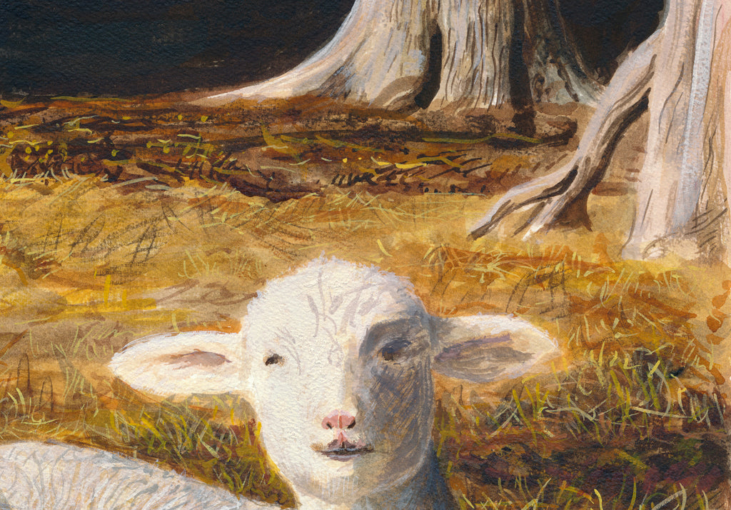 Ewe Sheep and Three Triplet Lambs Resting Painting Giclée Print Crop 3