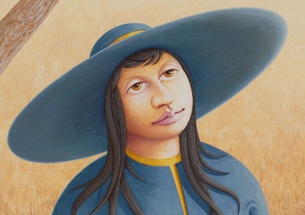 Imaginary Woman at Water Well Painting Giclée Print Crop 1