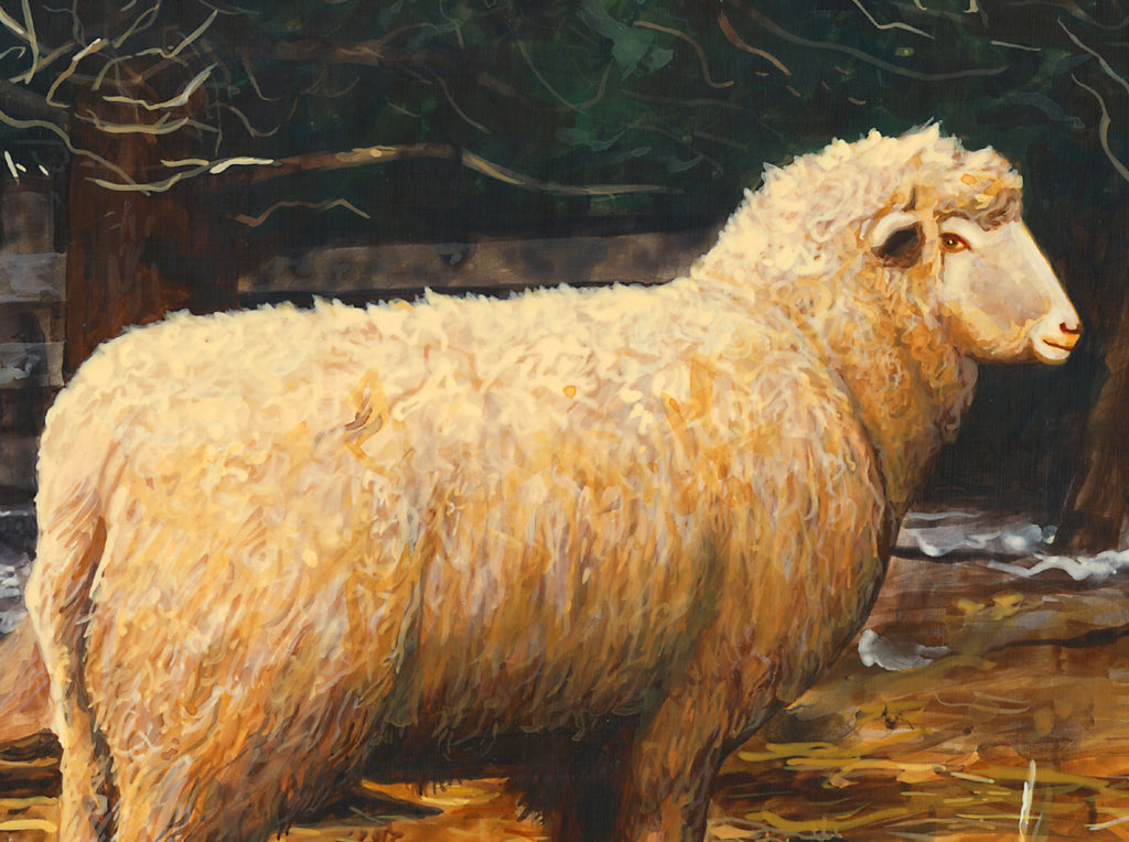Two Sheep in Snowy Barnyard Pasture Painting Giclée Print Crop 1