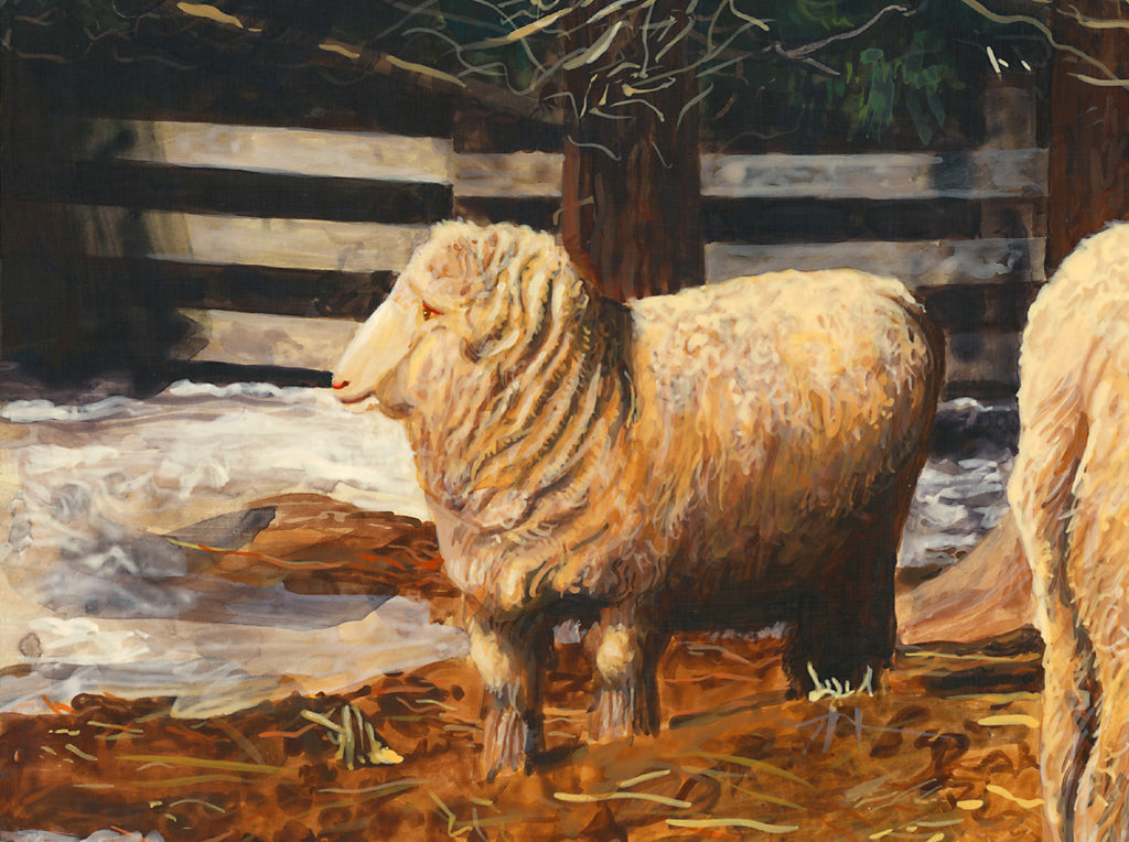Two Sheep in Snowy Barnyard Pasture Painting Giclée Print Crop 2