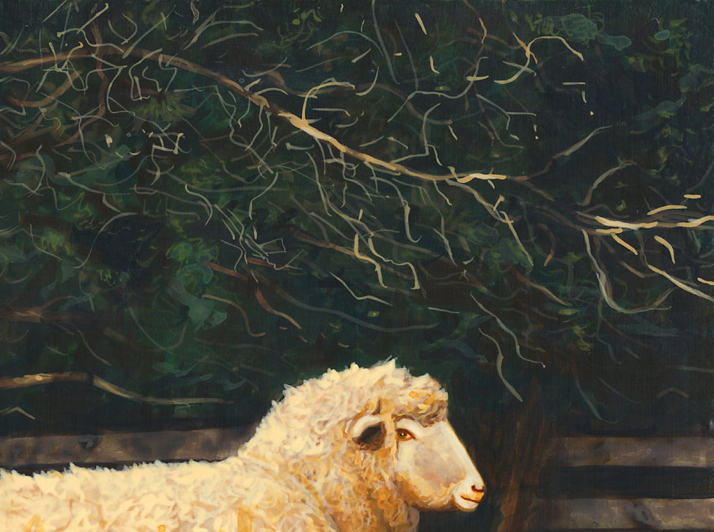 Two Sheep in Snowy Barnyard Pasture Painting Giclée Print Crop 3