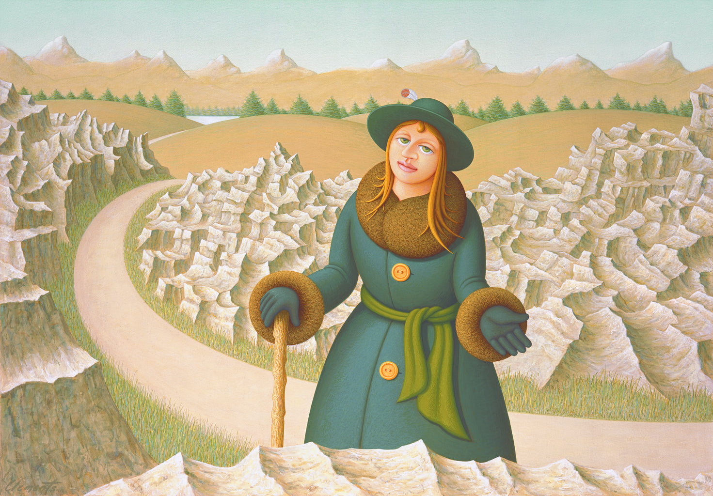 Imaginary Woman on Road with Cane and Rocks Painting Giclée Print
