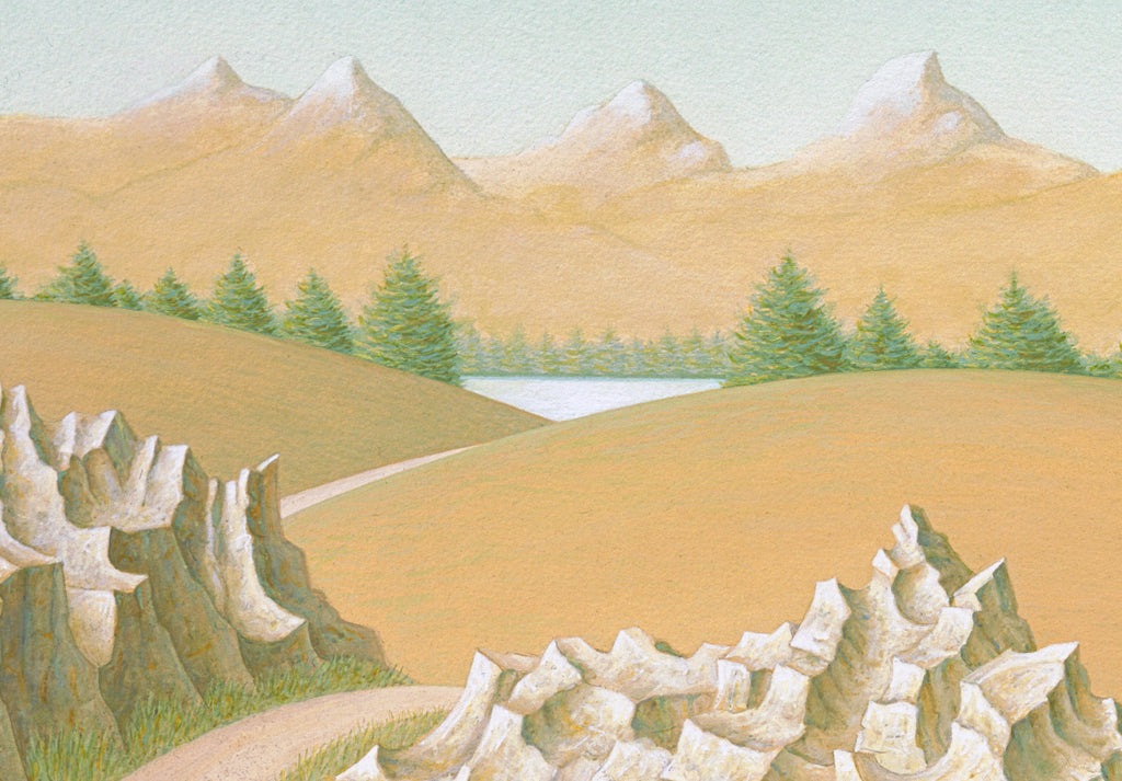 Imaginary Woman on Road with Cane and Rocks Painting Giclée Print Crop 2