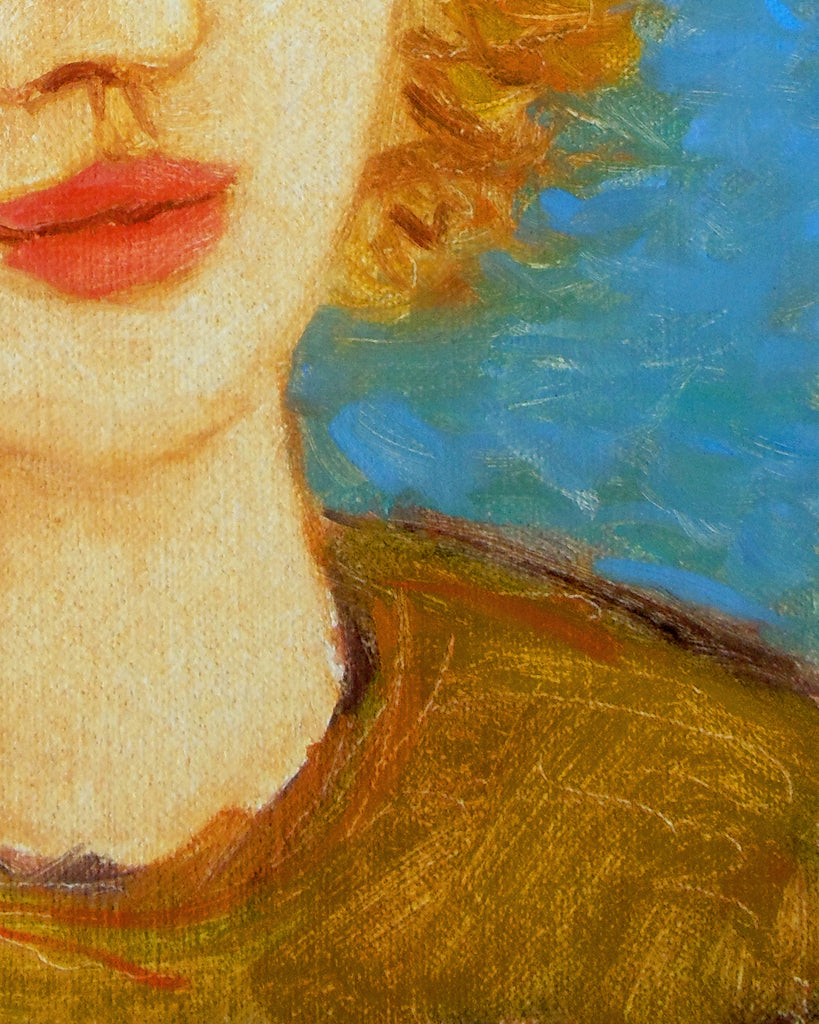 Whimsical Bright Color Portrait of Girl Painting Giclée Print Crop 3