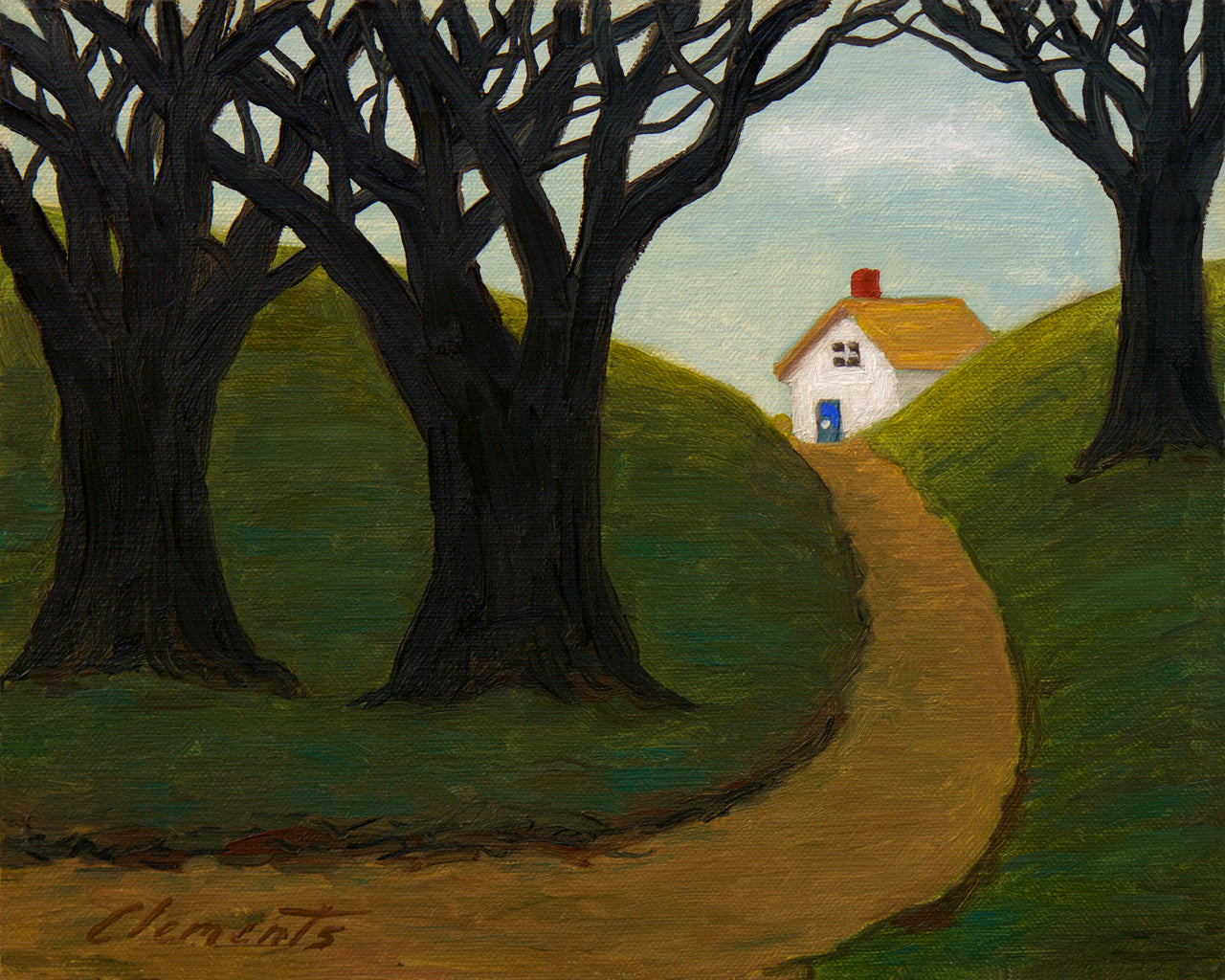 House Along Road With Woods Painting Giclée Print