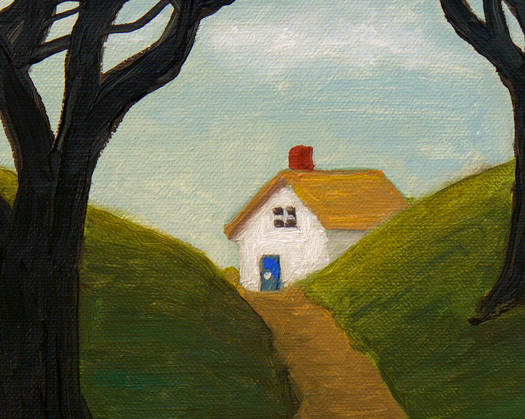 House Along Road With Woods Painting Giclée Print Crop 1
