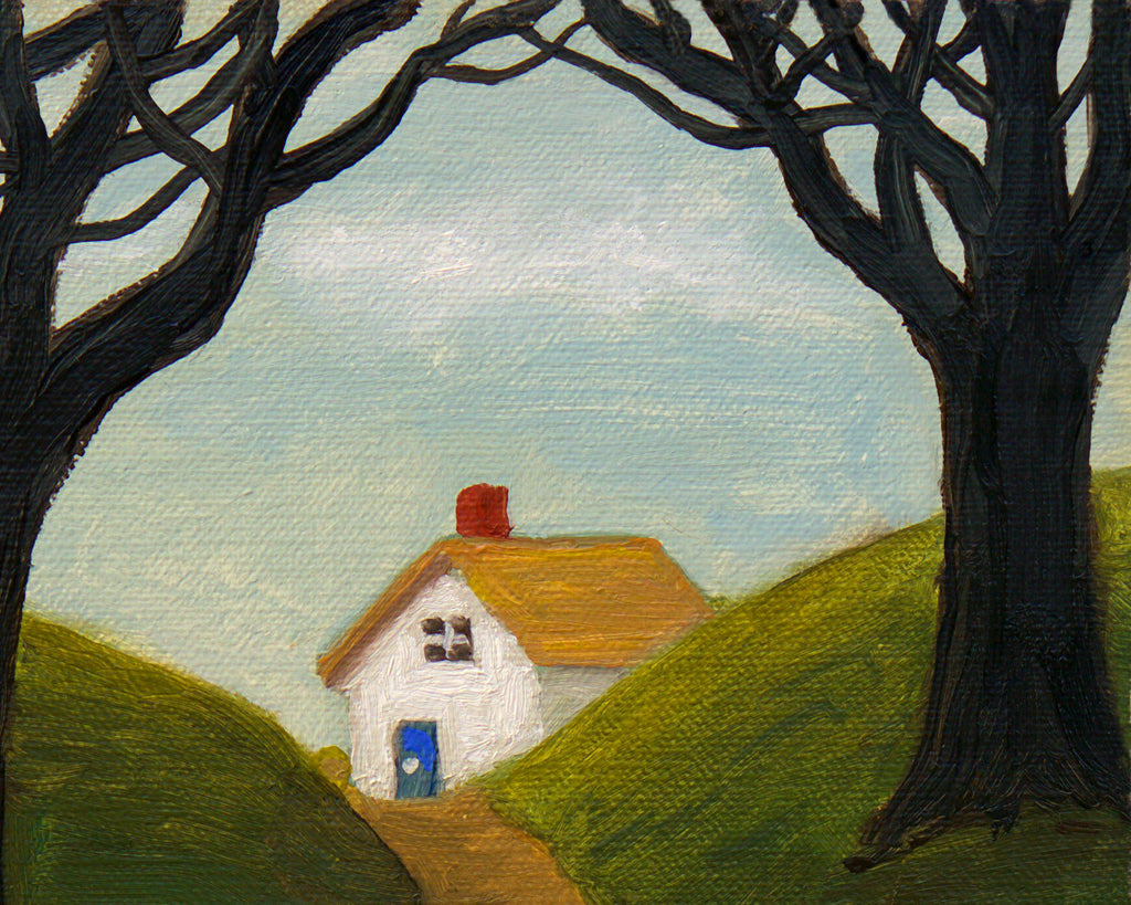 House Along Road With Woods Painting Giclée Print Crop 3