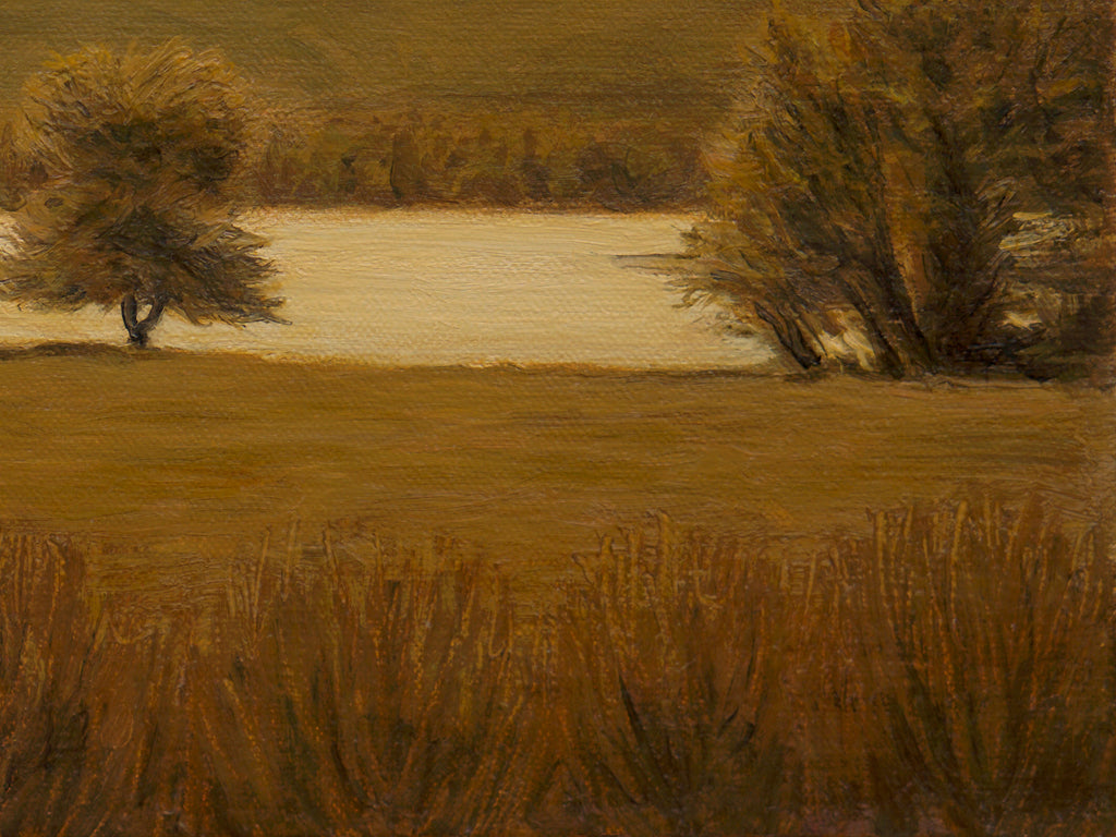 Sunny Amber Colored River Landscape Painting Giclée Print Crop 3