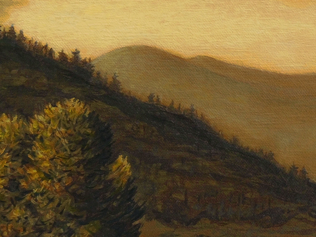 Amber Colored River Landscape With Mountains Painting Giclée Print Crop 1