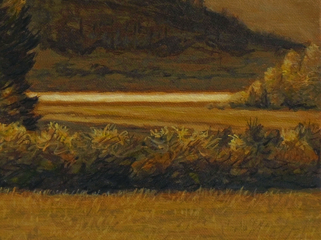 Amber Colored River Landscape With Mountains Painting Giclée Print Crop 3