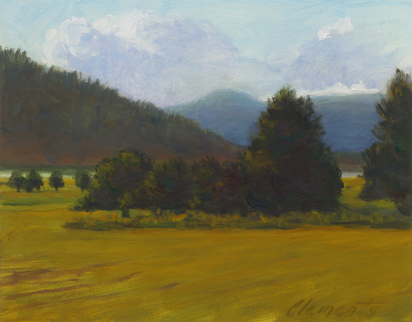 Hay Field Along River With Mountains Painting Giclée Print