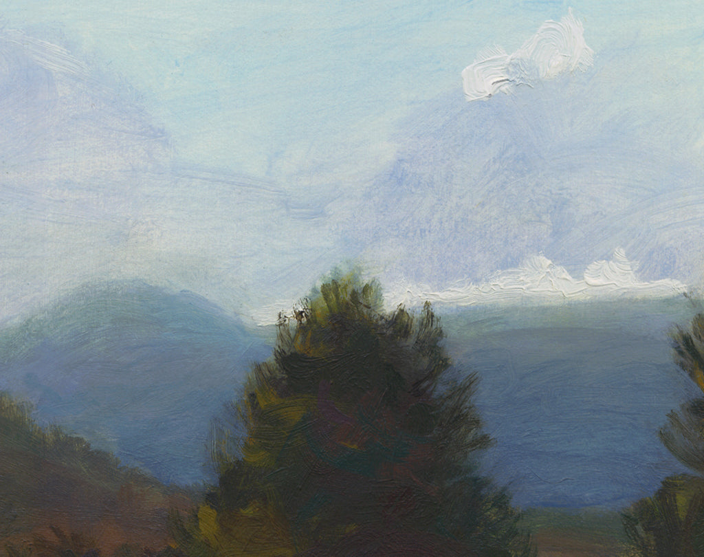 Hay Field Along River With Mountains Painting Giclée Print Crop 1