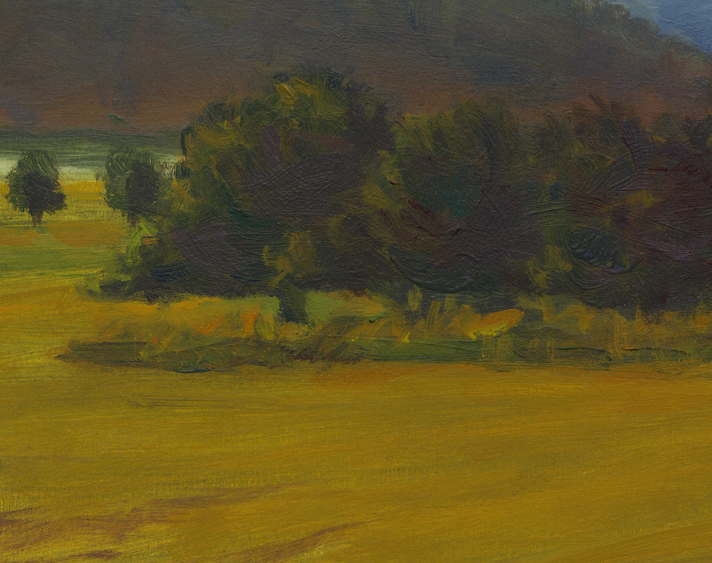 Hay Field Along River With Mountains Painting Giclée Print Crop 3