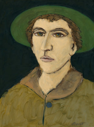 Imaginary Portrait of Man With Green Hat Painting Giclée Print