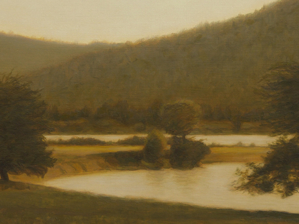 Amber Colored River Scene With Apple Trees Painting Giclée Print Crop 1