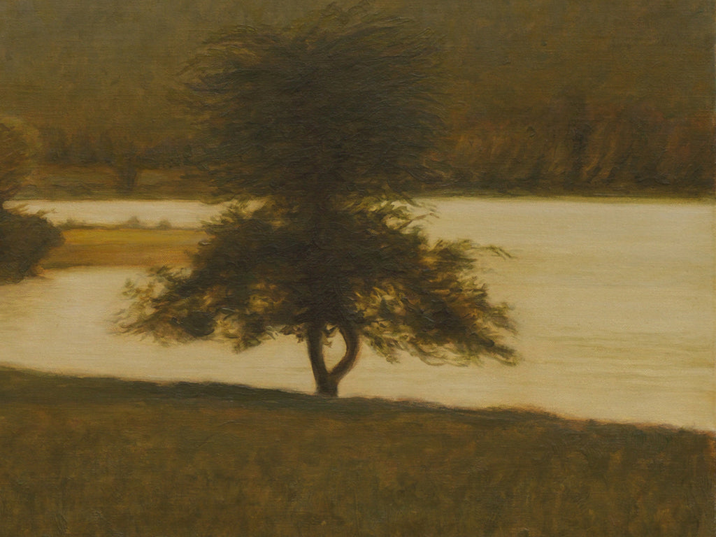 Amber Colored River Scene With Apple Trees Painting Giclée Print Crop 3